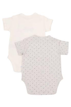 Boys Round Neck Solid and Printed Bodysuit Pack of 2