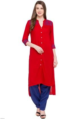 KASHISH Womens Mandarin Neck Embroidered Kurta - 204042087_9607