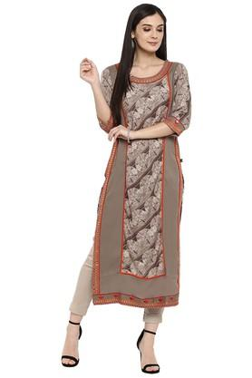 JUNIPER Womens Embroidered Printed Festive Kurta With Mirror Work