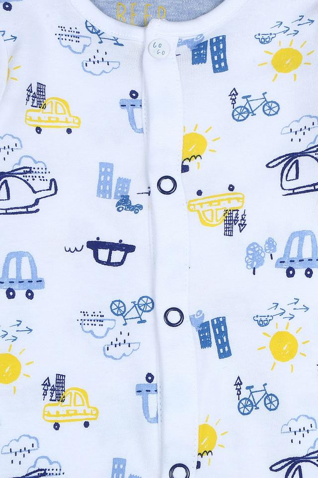 Boys Round Neck Printed and Patch Work Sleepsuit - Pack of 3