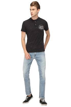 Mens Band Collar Slub T-Shirt