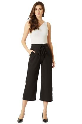 Womens Solid Straight Fit Belted Culottes