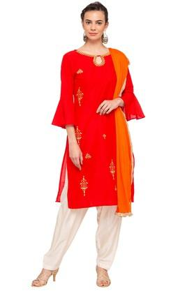 Womens Round Neck Embroidered Salwar Suit