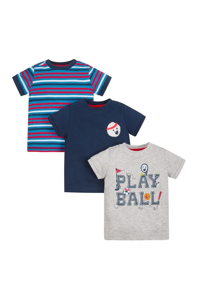 Boys Round Neck Striped Solid and Printed Tees - Pack Of 3