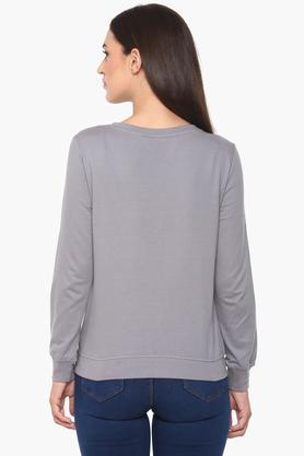 Womens Round Neck Graphic Print Sweatshirt