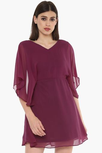 Womens V Neck Solid Short Dress