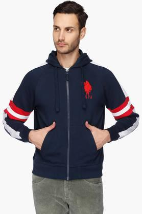 U.S. POLO ASSN. Mens Regular Fit Hooded Solid Sweatshirt