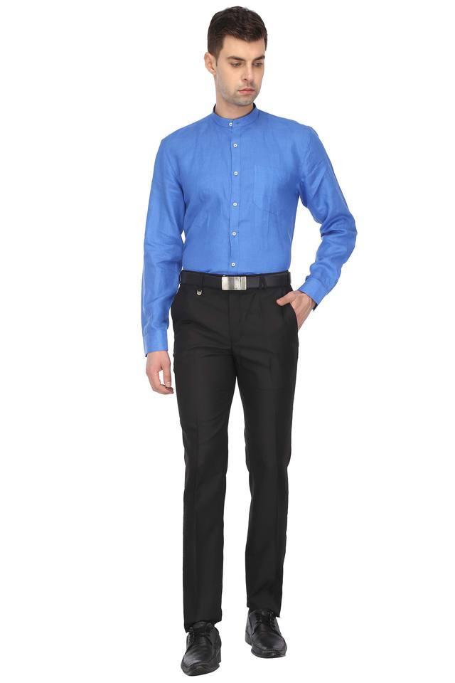 Mens Band Collar Slub Formal Shirt