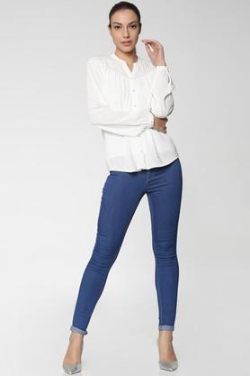 Womens Regular Fit Mandarin Collar Solid Shirt