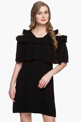 Womens Round Neck Solid Shift Dress