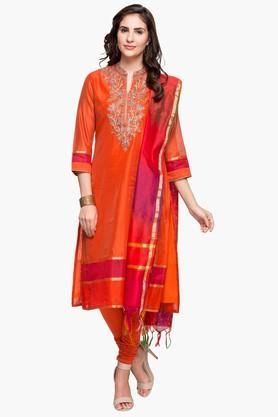 BIBA Womens Mandarin Neck Embroidered Churidar Suit