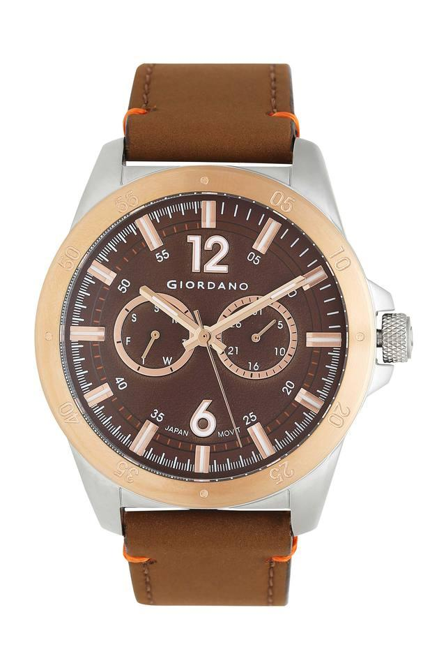 Mens Analogue Brown Dial Leather Watch - 1970-04
