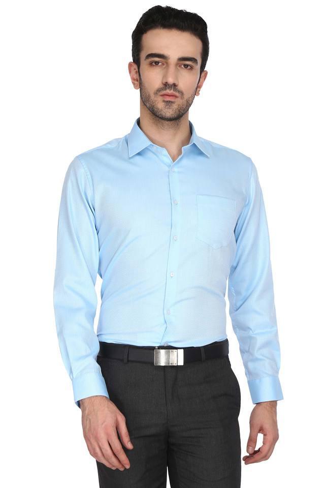 Mens Slim Collar Self Pattern Shirt (Durapress)