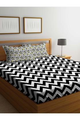 PORTICOStripe Double Bed Sheet With Pillow Cover - 203989868_9900
