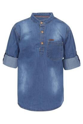 Boys Mandarin Collar Washed Shirt