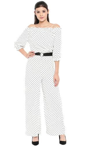 Womens Off Shoulder Neck Dot Pattern Jumpsuit