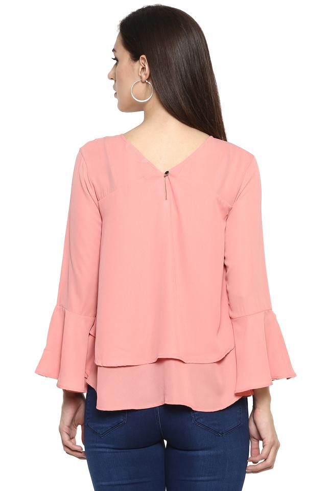 Womens V Neck Solid Top