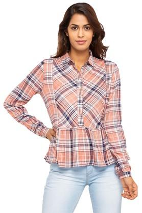 Womens Collared Check Peplum Top