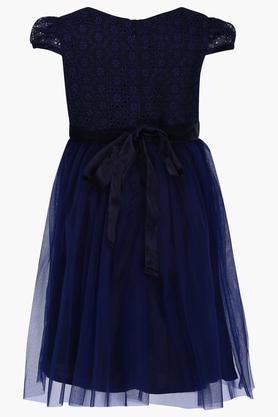 Girls Round Neck Lace Layered Dress