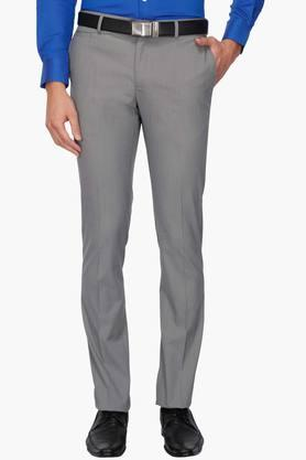 BLACKBERRYS Mens Slim Fit Slub Formal Trousers