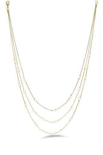 Womens Gold Plated Layered Chain Necklace