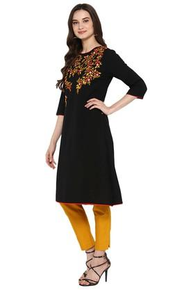 Womens Embroidered A-Line Kurta with Pant