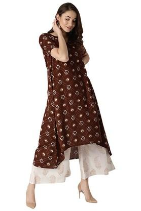 LIBAS Womens Cotton Printed Aline High Low Kurta