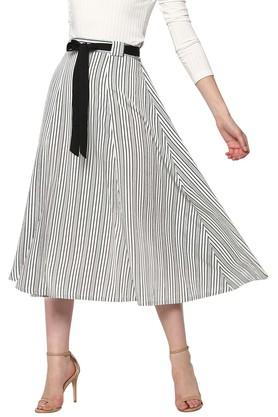 SASSAFRAS Womens Striped Midi Skirt