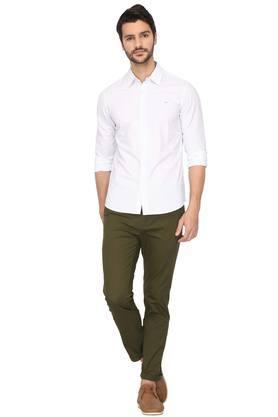 Mens 4 Pocket Solid Trouser