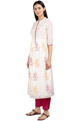 Womens Mandarin Collar Printed Kurta Pants Set