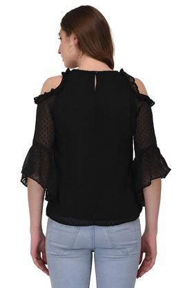 Womens Round Neck Self Pattern Top