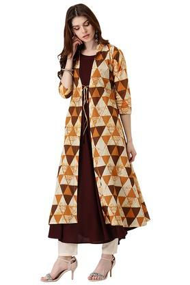 LIBAS Womens Cotton Printed Anarkali Kurta With Long Jacket
