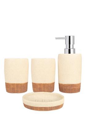 Stone Finish Basket Weave Base Textured Bath Set of 4