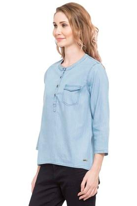 Womens Band Neck Slub Top