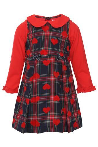 Girls Peter Pan Collar Check Dress
