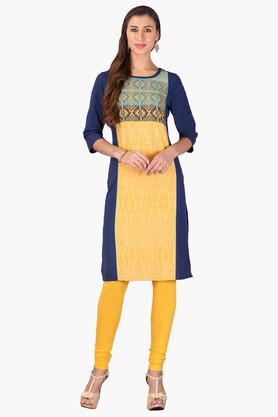 AURELIA Womens Round Neck Colour Block Embroidered Kurta - 202957294