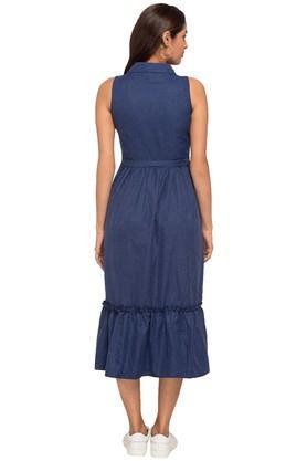 Womens Collared Slub Midi Dress