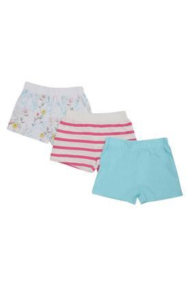 Girls Printed Solid and Stripe Shorts - Pack of 3