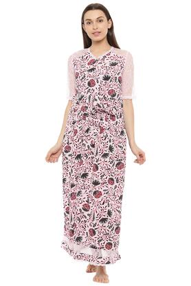 Womens Henley Neck Printed Maxi Dress