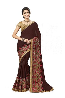 ASHIKA Womens Embroidered Saree With Blouse Piece - 204577086_9126