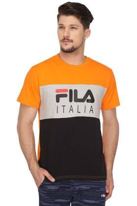 FILA Mens Round Neck Colour Block T-Shirt - 204465729_9503