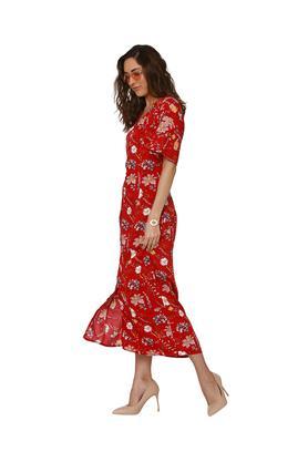 Womens V Neck Floral Print Calf Length Dress