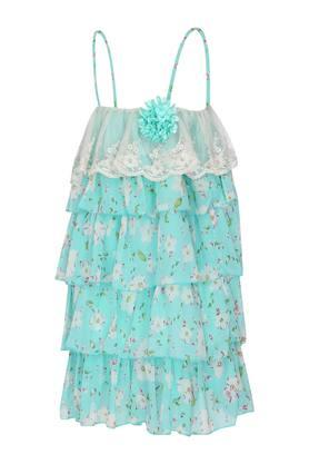 Girls Spaghetti Neck Printed Tiered Dress
