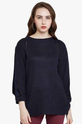 RARE Womens Round Neck Solid Sweater - 203399830