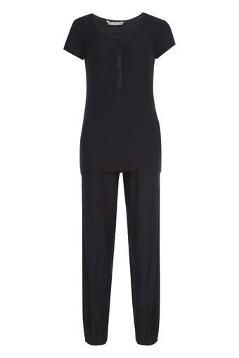 Womens Round Neck Solid Top and Pyjamas Set