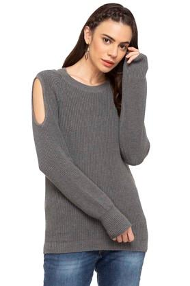 AEROPOSTALE Womens Round Neck Knitted Pattern Sweater