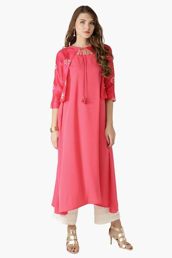 4873bf2eff Buy LIBAS Womens Tie Up Neck Solid A-Line Jacket Style Kurta | Shoppers Stop
