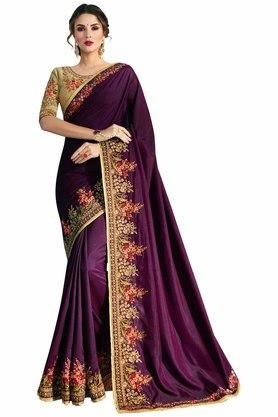 VRITIKA Womens Barfi Silk Embroidered Saree With Blouse