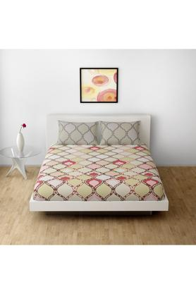 SPACESCotton Printed Double Bedsheet With 2 Pillow Covers - 203257372_9900