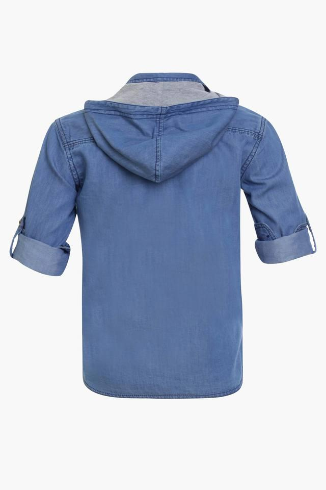 Boys Hooded Solid Shirt